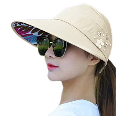 6fa5c3044 Westeng Sun Cap Ladies Foldable Beach Hat Wide Brim Plain Visor Hat Summer  UV Sun Protection Travel Casual