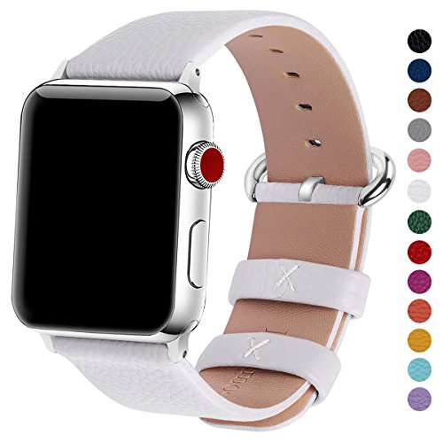Fullmosa Compatible iWatch Bands 38mm 40mm 42mm 44mm Women Calf Leather Compatible Apple Watch Strap Bands Compatible Apple Watch Series 4 Series 3 Series 2 Series 1, 38mm 40mm White ()