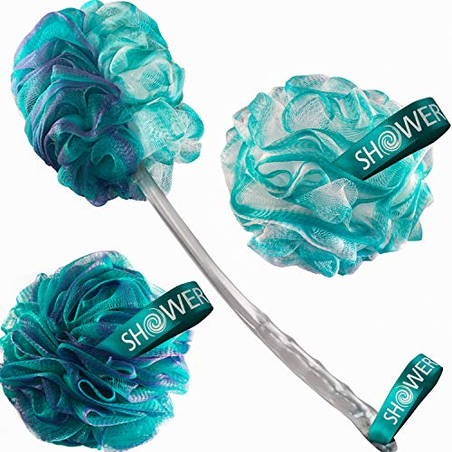 2-Side-Loofah-Back-Scrubber & Bath-Sponges by-Shower-Bouquet: 1-Long-Handle-Back-Brush plus 2-Extra-Large 75g Soft Mesh Poufs, Men & Women - Exfoliate with Full Pure Cleanse in Bathing Accessories