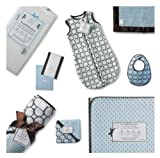 SwaddleDesigns Essentials, Set of 8 - Pastel Blue with Chocolate Brown