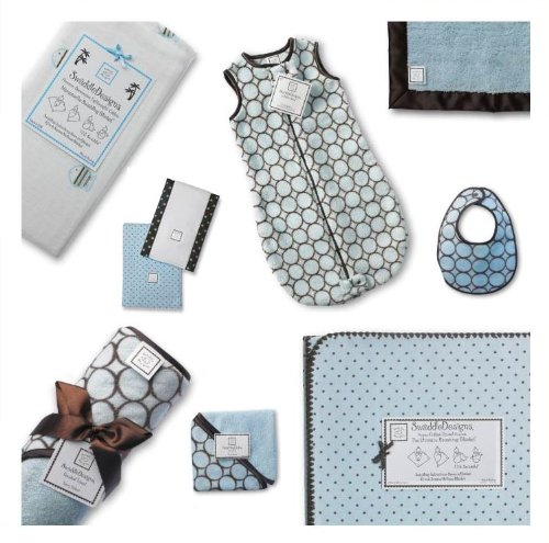 SwaddleDesigns Essentials, Set of 8 - Pastel Blue with Chocolate Brown by SwaddleDesigns