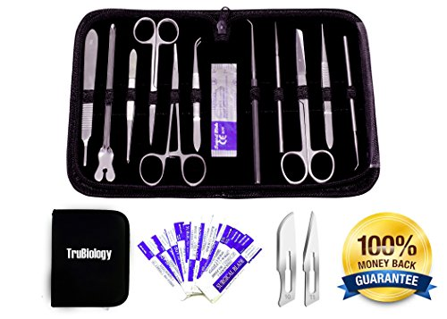 22 Piece Dissection Kit - Advanced Lab Dissection Kit for Biology Anatomy Medical Students - Top Quality Stainless Steel - No Plastic Parts/Handles - All