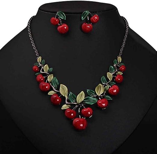 Providethebest Collier rouge cerise boucles doreilles d/îner bijoux robe de mari/ée Accessoires rouge et vert 45cm