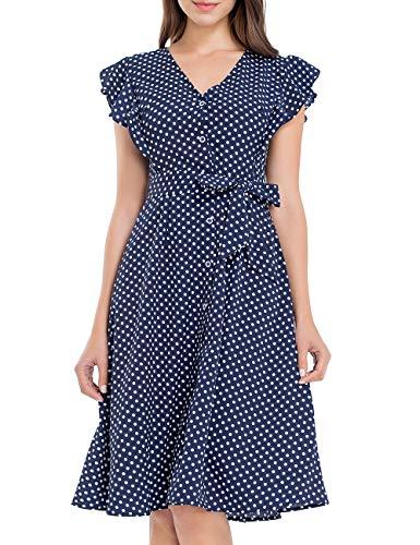 JTANIB Summer Dresses for Women Casual Boho Midi Dress Sleeveless V Neck Polka Dot Ruffle Swing Dress Dark Blue -