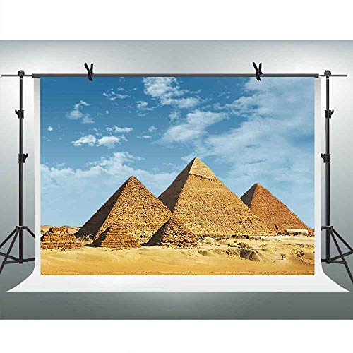 FHZON 10x7ft Egyptian Pyramids Photography Background Blue Sky White Cloud Backdrop Travel Party Wallpaper Photo Booth Video Studio Shoot Props PFH642