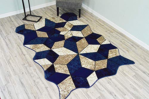 - PlanetRugs Twist Free Shape 3D Hand Carved Modern Abstract Contemporary 5x8 Colorful Luxury Rug for Bedroom, Living Room, Dining Room 4708 Navy Blue