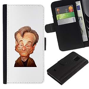 KLONGSHOP / Tirón de la caja Cartera de cuero con ranuras para tarjetas - Comedian Stand Up Caricature - Samsung Galaxy S5 Mini, SM-G800, NOT S5 REGULAR!