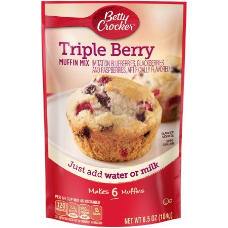 Betty Crocker Muffin Mix, Triple Berry, 6.5 oz Pouch (Pack of 4)