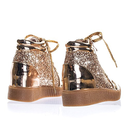 Voor Altijd Link Retro Glitter Oxford Lace Up Platform Sleehak Klimplant, Dames Sneaker Roségoud