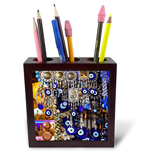 3dRose Danita Delimont - Decor - Iran, Shiraz, Bazar-E Vakil Market, Traditional Nazar Souvenirs - 5 inch Tile Pen Holder (ph_312739_1)