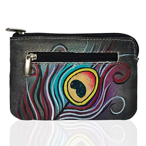 Louis Pelle RFID Blocking Hand Panted Coin Change Pouch Genuine Leather Minimalist Women Wallet (Feather Art)
