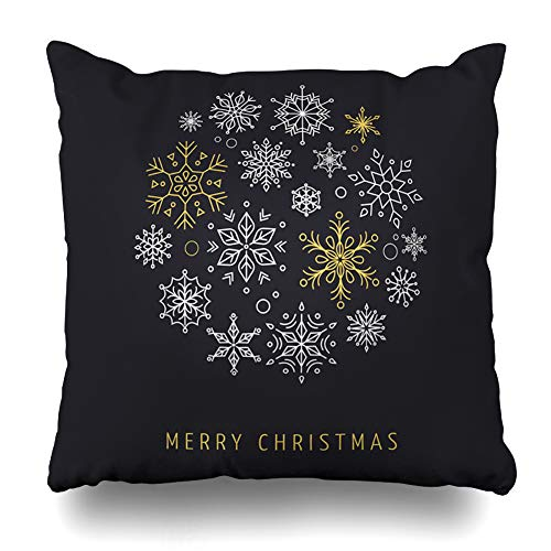 AileenREE Throw Pillow Covers Flake Line Snowlakes Geometric Christmas Circle Holidays Cold Snowflake Snow Xmas Monogram Abstract Pillowcase Square Size 16 x 16 Inches Home Decor Cushion Cases