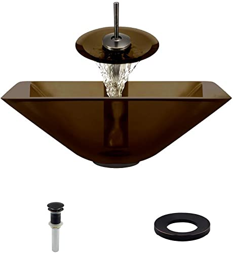 603 Taupe Antique Bronze Waterfall Faucet Bathroom Ensemble