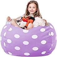 WEKAPO Stuffed Animal Storage Bean Bag Chair Cover for Kids | Stuffable Zipper Beanbag for Organizing Children