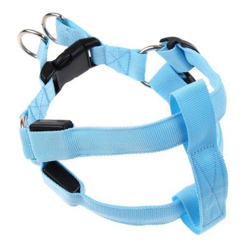 Zehui Pet Belt Harness Leash Tether LED Flashing Light LED Collar Blue Bust Size L: 43-60cm Width: 2.5cm