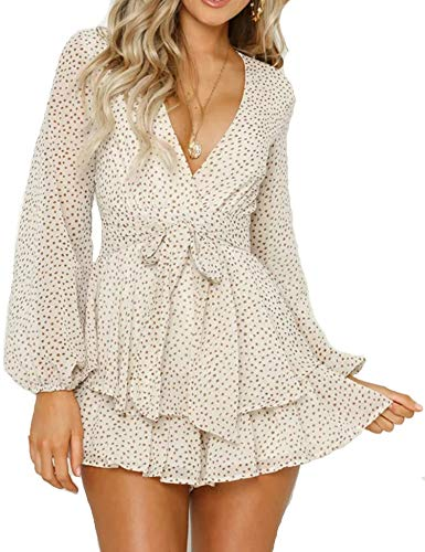 Relipop Women's Polka Dot Jumpsuits Deep V-Neck Long Sleeve Knot Front Ruffle Hem Rompers White