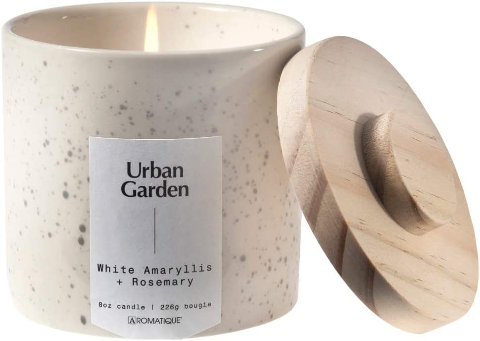 Aromatique Urban Garden Speckled Ceramic Scented Candle (White Amaryllis and Rosemary)