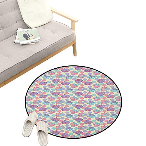 (Birthday Round Area Rug Non-Slip ,Pastel Colored Big Dots and Present Boxes with Bowknots Happy Celebration Theme, Living Room Bedroom Coffee Table 31