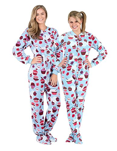 Adult Fleece Footed Pajamas - Footed Pajamas - Blue Cupcakes Adult Fleece - Medium