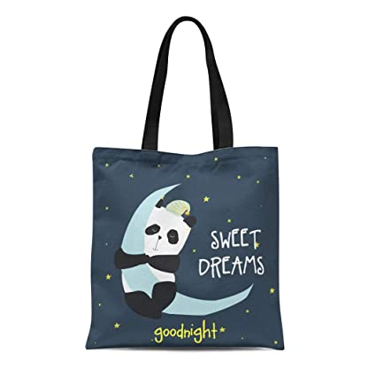 945f439926dd Amazon.com: Semtomn Canvas Tote Bag Cute Sweet Dreams Panda Kid Baby ...