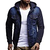 GREFER Fashion Mens' Autumn Winter Jacket Hooded Vintage Distressed Demin Tops Coat Outwear