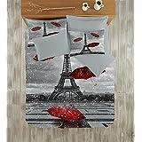 Paris Home 100% Cotton 5pcs Full Size Comforter Set Eiffel Tower in Winter Snow & Red Umbrella Bedding Linens