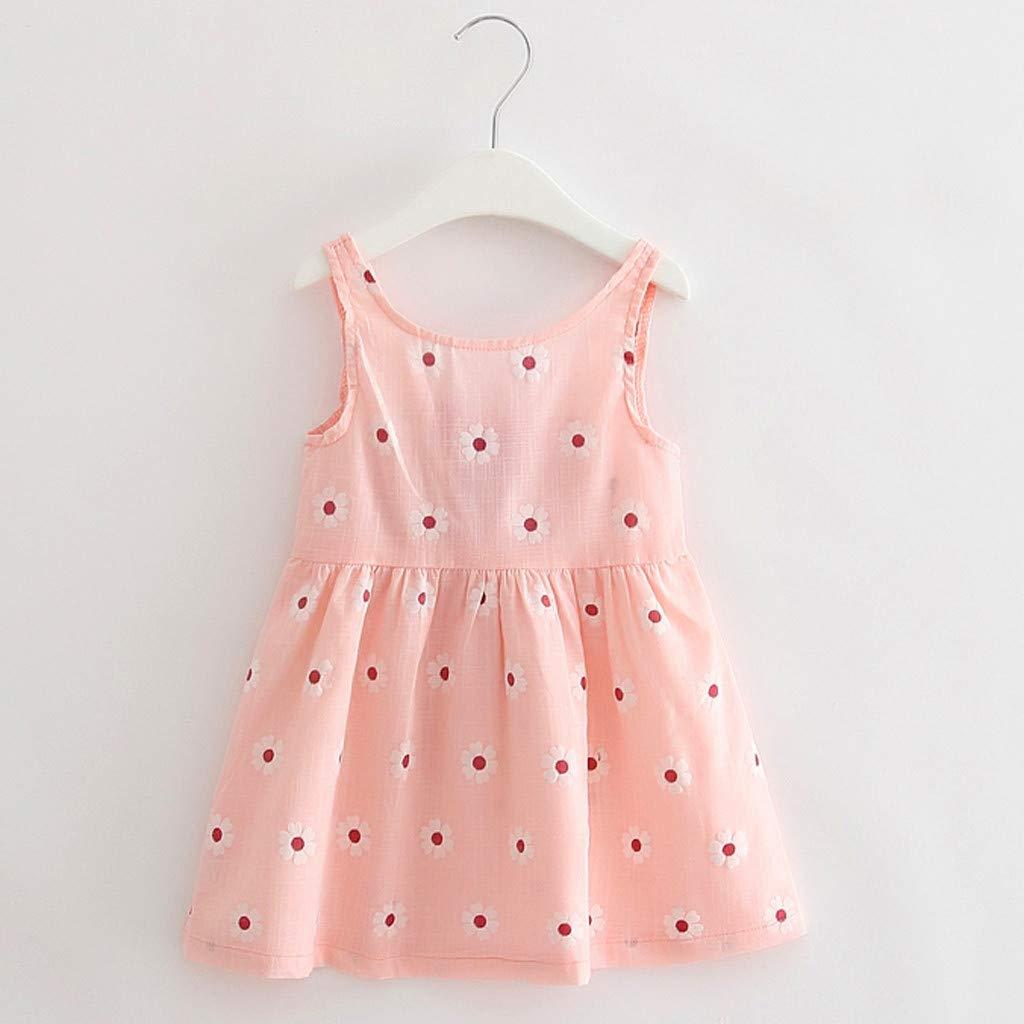 Girl Sling Bowknot Dress,CSSD 1-5 Year Baby Girl Floral Print Sleeveless Skirt Kids Summer O-Neck Loose Princess Dress