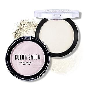 Color Salon Highlighter Powder Smooth Illuminator Compact Powder for Face Cheek Highlighter Powder Makeup ,0.21Oz (White)