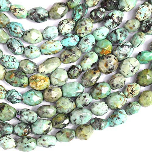 (Icokarl Gorgeous Faceted African Turquoise Nuggets 8x10mm Natural Gemstone Loose Beads Approxi 15.5 inch DIY Bracelet Necklace for Jewelry)