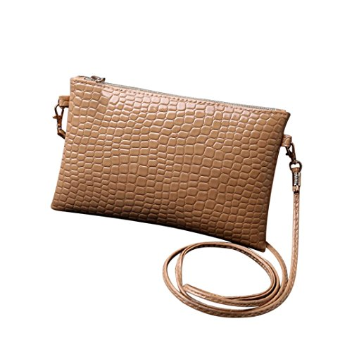 Women Girl Mini Leather Clutch Handbag Small Crossbody Purse Cellphone Bag Satchel Pouch (Coffee) (Pouch Weekender Multi)