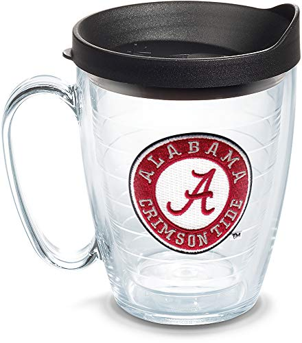Tervis 1056676 Alabama Crimson Tide Tumbler with Emblem and Black Lid 16oz Mug, - Alabama Mug