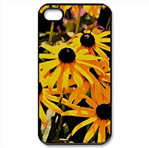 Black Eyed Flowers Watercolor style Cover iPhone 4 and 4S Case (Flowers Watercolor style Cover iPhone 4 and 4S Case)