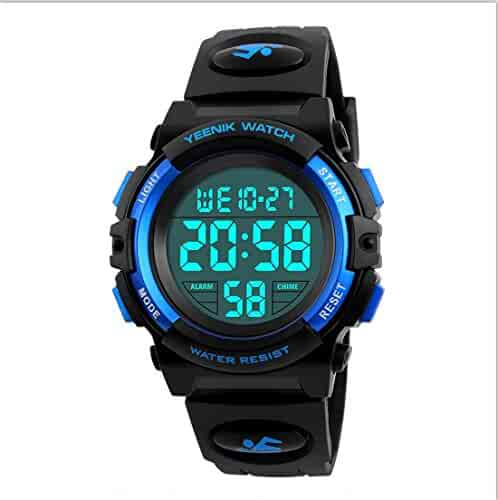 Boy Digital Sport Watch Led Military Waterproof Electronic Wrist Watch with Alarm Stopwatch Calendar Date for Boy Girl – Blue
