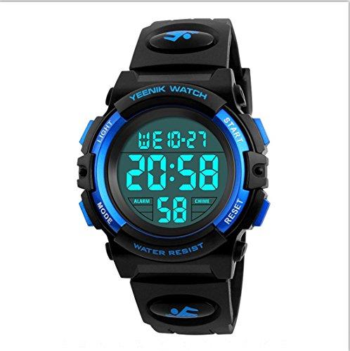Boy Digital Sport Watch Led Military Waterproof Electronic Wrist Watch with  Alarm Stopwatch Calendar Date for Boy Girl Blue