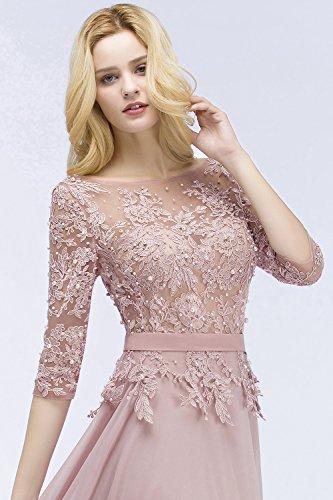 Damen Rosa Brautjungfernkleid 32 Lang Abendkleid Perlstickerei Abi 4 Elegant Ballkleid Arm 46 Tüll 3 EU 46rq4wE