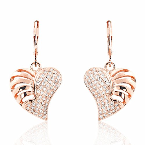 Wonderful Heart 925 Sterling Silver Micro Pave Setting CZ Earrings Rose
