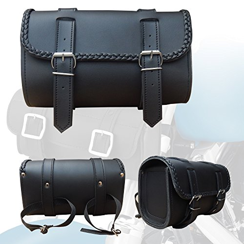 2Fit Braided Waterproof Synthetic Leather Motorcycle Round Front Fork Tool bag Round Leather Tool Bag