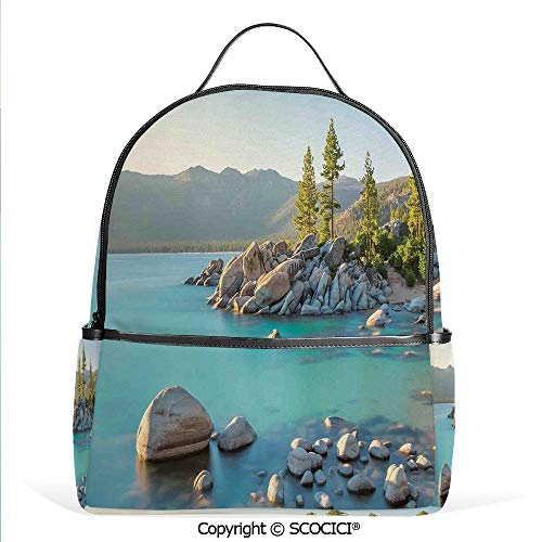 Casual Fashion Backpack Pastoral Spring Time Scenery in Provincial Countryside Lake Beach Shallow Water Theme,Blue Grey,Mini Daypack for Women & Girls