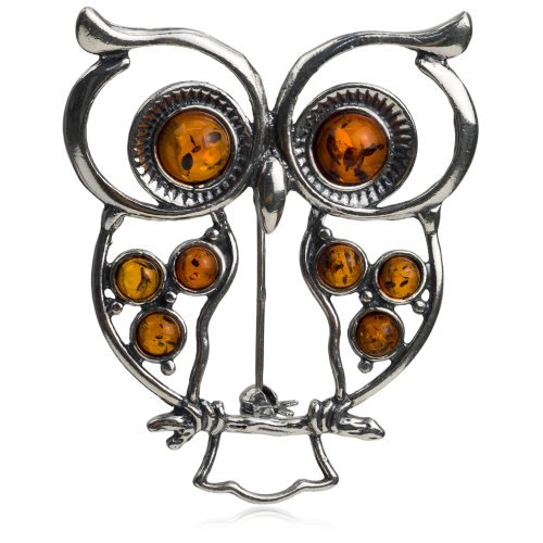 (Sterling Silver Amber Owl Pendant Brooch)
