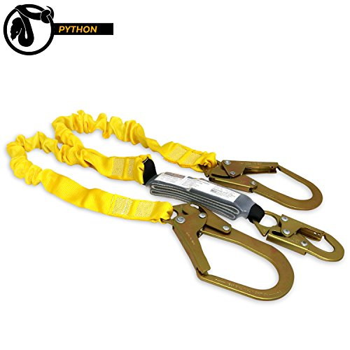 KwikSafety PYTHON | Double Leg 6ft Tubular Stretch Safety Lanyard | OSHA Approved ANSI Compliant Fall Protection | EXTERNAL Shock Absorber | Construction Arborist Roofing | Snap & Rebar Hook Connector - Rated Lanyard