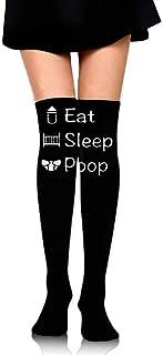 ruichangshichengjie Women's Knee High Compression Thigh High Socks Eat Sleep Poop for Working Sport Long Stockings