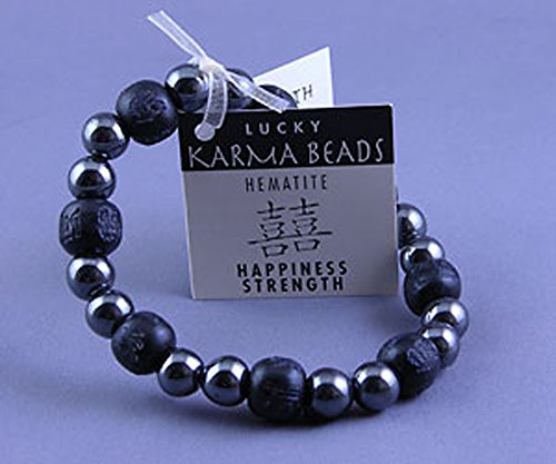 Zorbitz Karmalogy Lucky Karma Beads - Happiness Strength - Hematite Black Bracelet (31blk) (Happiness Bead)