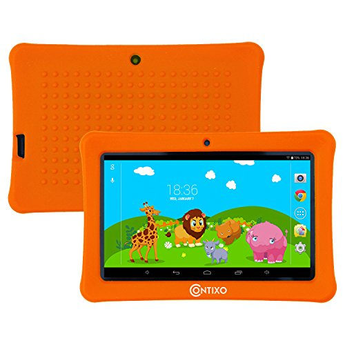 HOLIDAY SPECIAL! Contixo KiDOZ Kid Safe 7'' HD Tablet WiFi 8GB Bluetooth, Free Games, Kids-Place Parental Control W/ Kid-Proof Case (Orange) - Best Gift For Christmas by Contixo