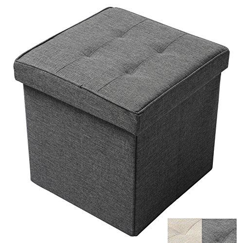 WOLTU Ottoman Foldaway Storage Blanket Toy Box Bench Oxford cloth Dark Gray Cube 15 inch For Sale