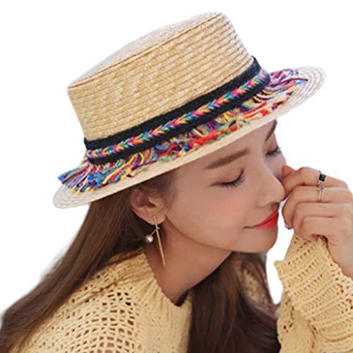 niumanery Women Men Unisex Summer Wheat Straw Weave Sun Visor Hat Bohemian Ethnic Colorful Braided Fringed Tassels Decor Flat Top Beach Sunscreen Cap