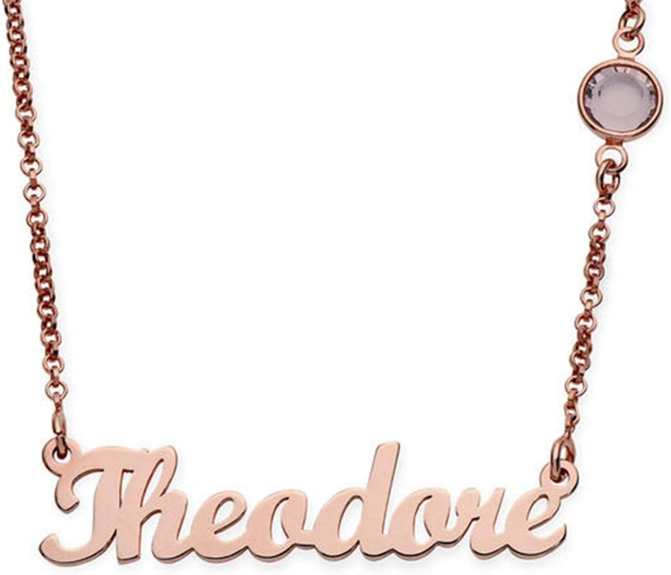 Rose Gold LucyFortune 925 Sterling Silver Custom Engraved Any Names with Birthstone in Necklace