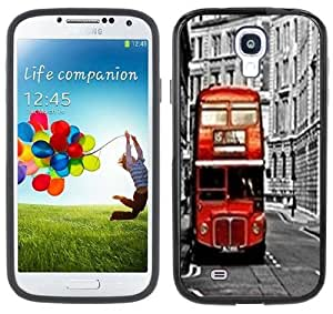 London Double Decker Bus Samsung Galaxy S4 Black Bumper Hard Plastic Case