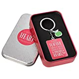Teacher Appreciation Keychain- Hot Pink Christian Keychain w/ 1 Corinthians 16:14 Bible Verse-w/Green Apple Enameled Charm - Christian Art Teacher Appreciation Gift in Tin Box