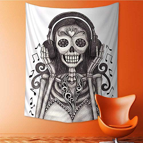 Auraisehome Wall Hanging Tapestries House Day of The Dead Dia de Los Muertos Skull Girlwith Headphones Music Lover Dust Large tablecloths 51W x 60L INCH