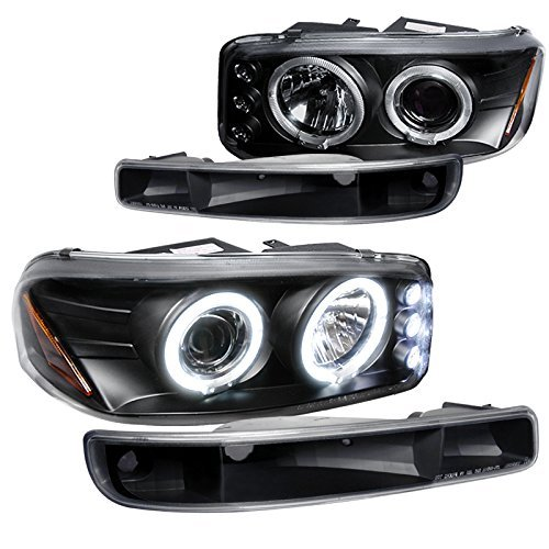 GMC Sierra Yukon Projector Halo LED Headlights+Bumper Lights Black - Gmc Sierra Halo Projector